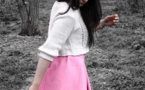 pink skirt, knitted short sweater, over the knee stockings