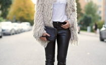 Faux fur and leather pants-perfect in every occasion