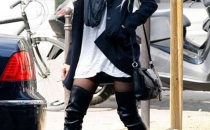 Casual outwear with over the knee boots