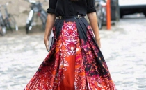 Fluid maxi skirt and black shirt combo