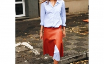 Maja Wih oversize shirt and leather skirt