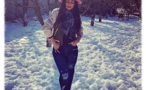 CARMEN NICOLETA M. (Chic sporty outfit   Ripped Jeans   Pink wool hat   Bomber jacket   Black boots)