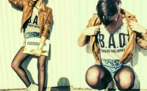 EMA ROXANNE (leather jacket, jeans shorts)