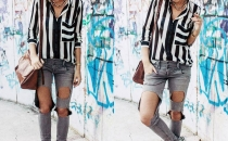 EMA ROXANNE (stripped shirt, ripped jeans)