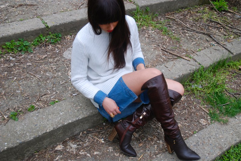DENIM SHIRT SWEATER WEATHER THE BOOTS closer to fashion blog Bacau (5)_800x536